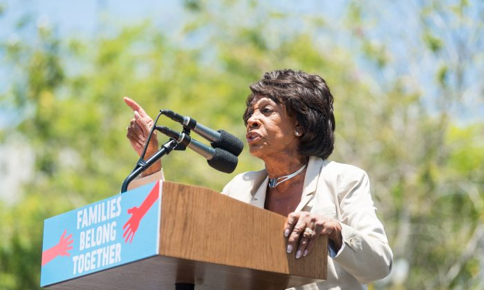 Maxine Waters speaks at a rally at Los Angeles City Hall on June 30, 2018 in Los Angeles, California. (Emma McIntyre/Getty Images for Families Belong Together LA)