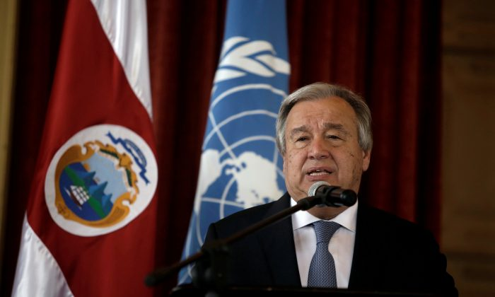 FILE PHOTO: U.N. Secretary General Antonio Guterres speaks during his visit to the United Nations School in San Jose, Costa Rica July 16, 2018. REUTERS/Juan Carlos Ulate/File Photo
