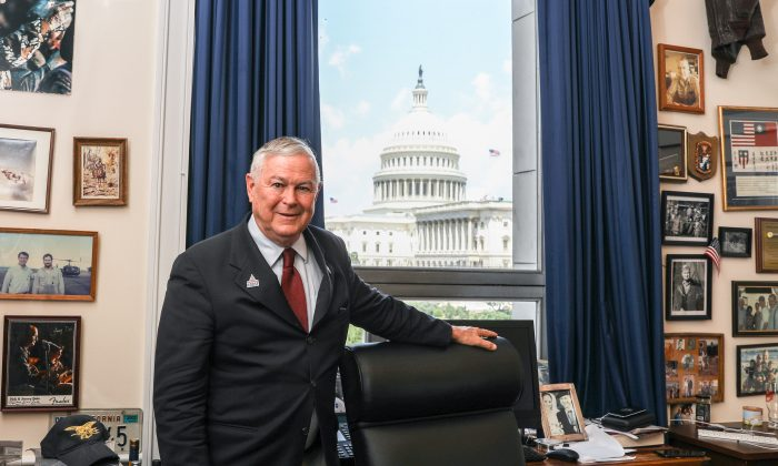 Rep. Dana Rohrabacher (R-Calif.) poses in his office in the Rayburn House Office Building in Washington on July 26, 2018. (Samira Bouaou/The Epoch Times)