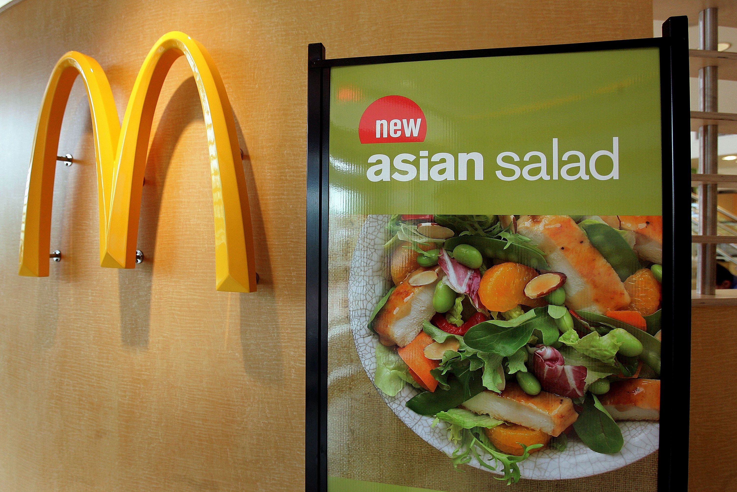 A display for McDonald's Asian Salad is displayed McDonald's restaurant in Oakbrook, Illinois, April 25, 2006. (Tim Boyle/Getty Images)