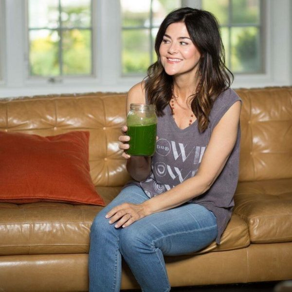 Stern drinking green juice