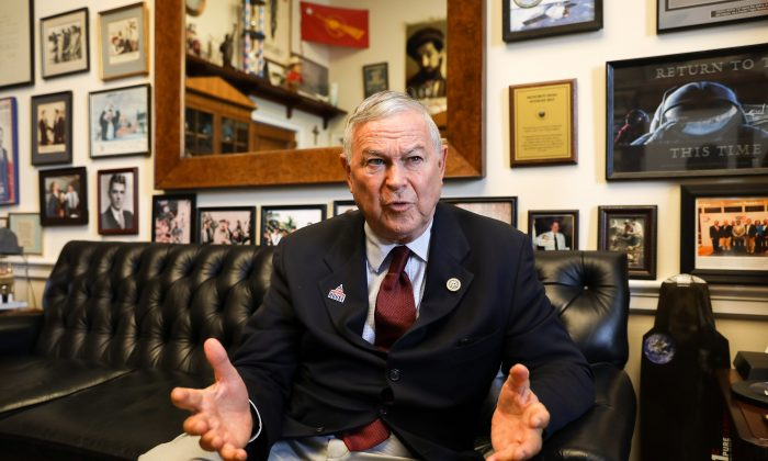 Rep. Dana Rohrabacher (R-Calif.) in his office in the Rayburn House Office Building in Washington on July 26, 2018. (Samira Bouaou/The Epoch Times)