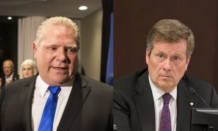 Ontario Premier Doug Ford (L) and Toronto Mayor John Tory (R). (The Canadian Press/Chris Young; Keith Beaty/Toronto Star via Getty Images)