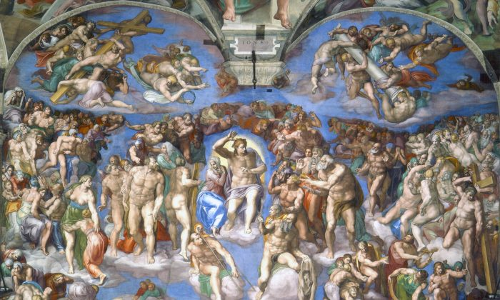"""""""The Last Judgment"""" by Michelangelo, in the Sistine Chapel, was inspired by Dante's """"Divine Comedy,"""" depicting the three realms of the afterlife: hell, purgatory, and heaven. (Public Domain)"""