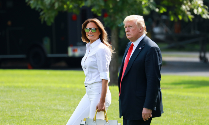 President Donald Trump and First Lady Melania Trump leave the White House en route to Bedminster, N.J., on July 27, 2018. (Samira Bouaou/The Epoch Times)