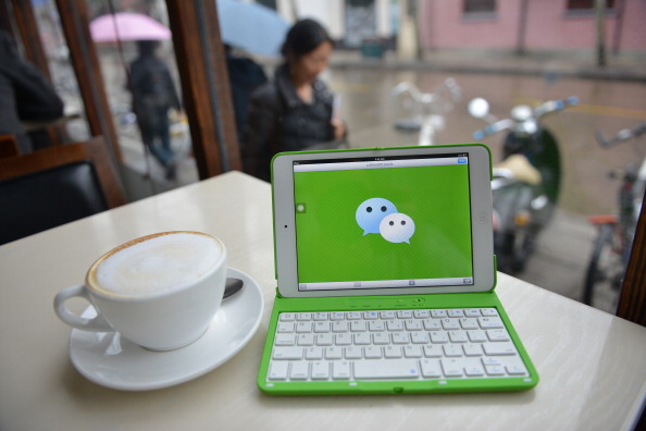 The logo of Chinese instant messaging platform WeChat on a mobile device on March 12, 2014. (Peter Parks/AFP/Getty Images)