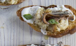Montados de Anchoas: Salt-Cured Anchovies and Eggplant on Toast