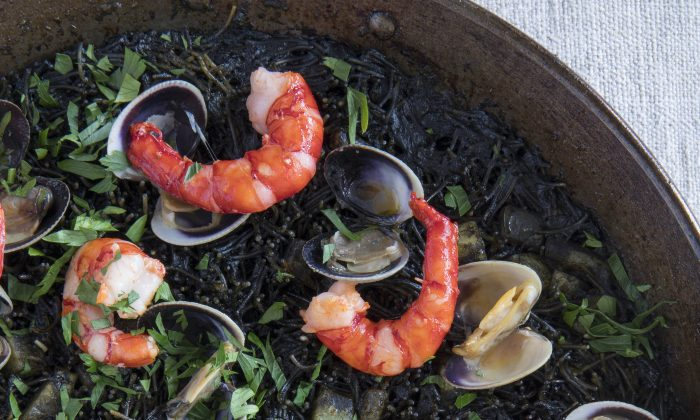 Fideuà Negra: Shrimp, Clams, Cuttlefish, and Fideo Noodles