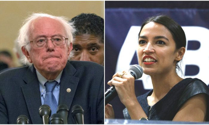 Sen. Bernie Sanders (I-Vt.) attends a press conference on July 24, 2018 in Washington, D.C.; New York Democrat candidate for Congress Alexandria Ocasio-Cortez campaigns for Michigan Democratic gubernatorial candidate Abdul El-Sayed at a rally on the campus of Wayne State University, in Detroit, Mich., on July 28, 2018. (Tasos Katopodis/Getty Images; Bill Pugliano/Getty Images)