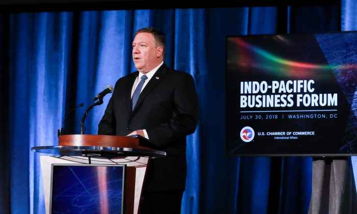 Secretary of State Mike Pompeo speaks at the Indo-Pacific Business Forum at the U.S. Chamber of Commerce in Washington DC on July 30, 2018. Pompeo discussed U.S. investments in the region as part of a strategy to contain China's rising influence. (Samira Bouaou/The Epoch Times)