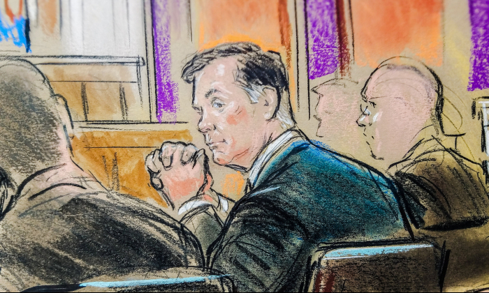 Paul Manafort is shown in a court room sketch as he sits in federal court on the opening day of his trial on bank and tax fraud charges  in Alexandria, Virginia, U.S. on July 31, 2018. (Bill Hennessy/Reuters)