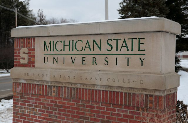 A sign for Michigan State University is seen near the campus in East Lansing, Michigan, on Feb. 1, 2018.  (Reuters/Rebecca Cook)