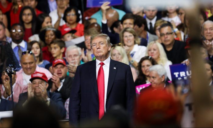 President Donald Trump speaks at a Make America Great Again rally in Tampa, Fla., on July 31, 2018. (Charlotte Cuthbertson/The Epoch Times)