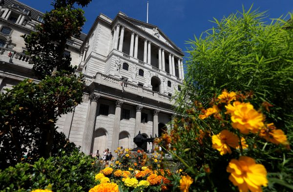 Flowers in bloom are seen opposite the Bank of England, in London, Britain Aug. 1, 2018.