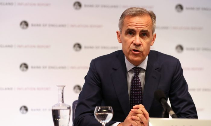 Bank of England Governor Mark Carney speaks during the central bank's quarterly Inflation Report press conference in London, Britain Aug. 2, 2018. (Daniel Leal-Olivas/Pool via Reuters)