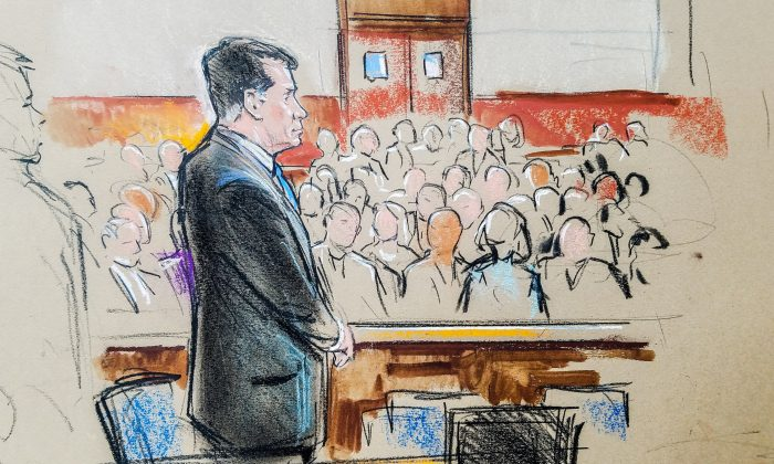 Paul Manafort stands in a court room sketch, on the opening day of his trial on bank and tax fraud charges in Alexandria, Virginia, U.S. July 31, 2018. (Bill Hennessy/Reuters)