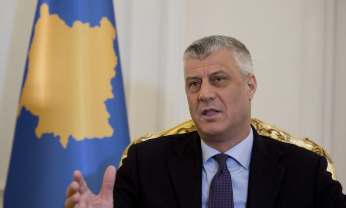 Kosovo President Hashim Thaci speaks during an interview with The Associated Press on  in Kosovo capital Pristina on Feb. 14, 2018. (AP Photo/Visar Kryeziu, File)
