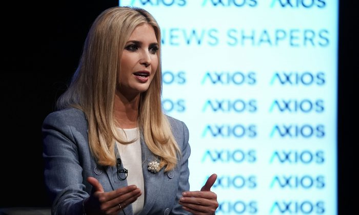 Ivanka Trump, White House adviser and daughter of President Donald Trump, speaks during an Axios360 News Shapers event at the Newseum in Washington on Aug. 2, 2018. (Alex Wong/Getty Images)