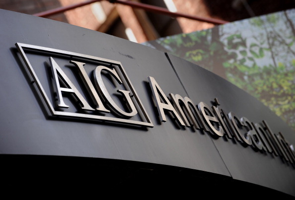 This Sept. 17, 2008 file photo shows the logo of American International Group Inc. outside their office in the lower Manhattan area of New York. (Photo credit should read STAN HONDA/AFP/Getty Images)