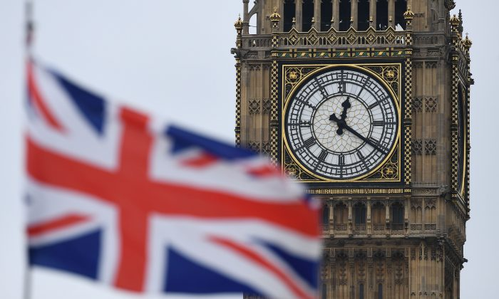 A Union flag flies near the Elizabeth Tower, commonly referred to as Big Ben, at the Houses of Parliament in central London on March 29, 2017. (Justin Tallis/AFP/Getty Images)