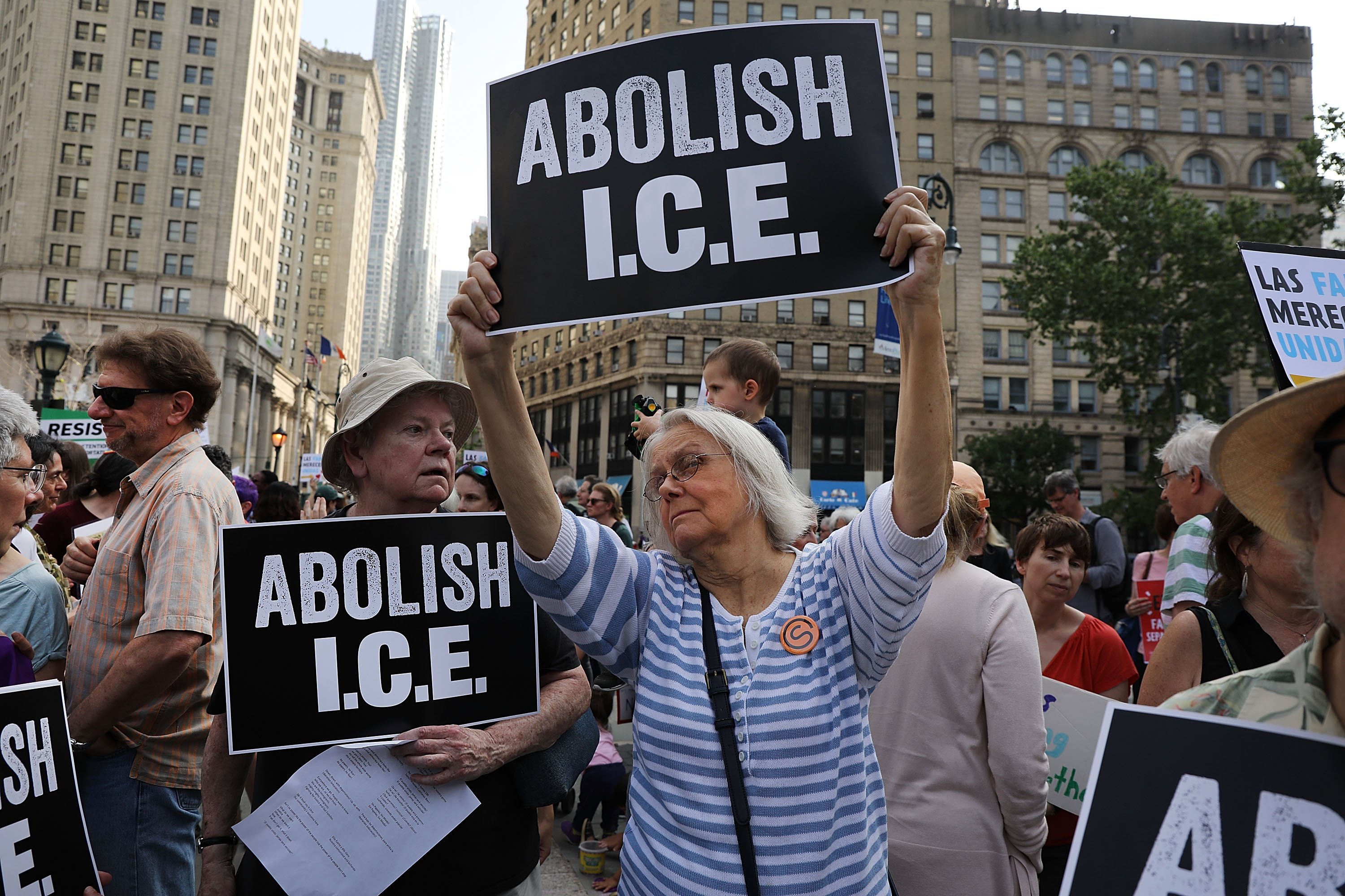 A demonstration at the Federal Building in lower Manhattan against the Trump administration's immigration policies on June 1, 2018. (Spencer Platt/Getty Images)