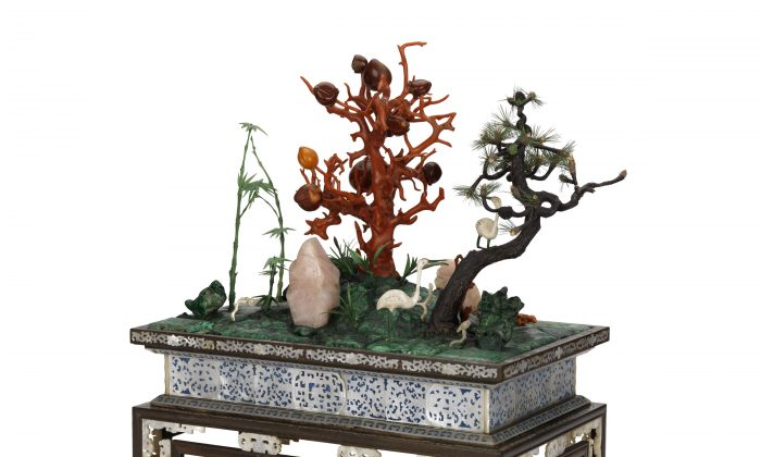 "The Chinese miniature garden shows the ""Three Friends of Winter;"" a plum tree in coral, a pine tree in wood and ivory, and a bamboo in tinted ivory. All three endure the cold weather and together symbolize perseverance, integrity, and longevity. (National Maritime Museum, London)"