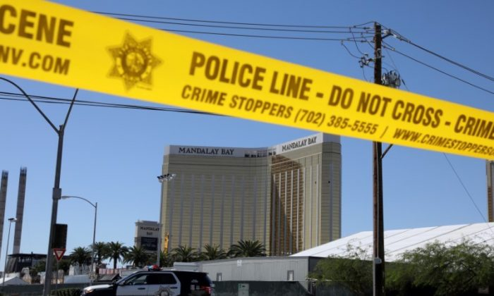The site of the Route 91 music festival mass shooting is seen outside the Mandalay Bay Resort and Casino in Las Vegas, Nevada on Oct. 2, 2017. (REUTERS/Lucy Nicholson)