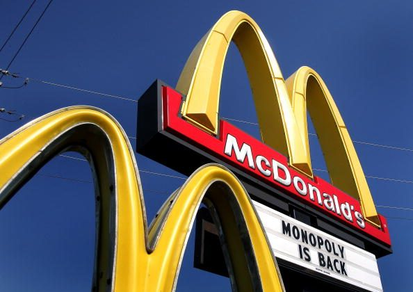The McDonald's Monopoly game is seen outside an Illinois store in 2005. (Tim Boyle/Getty Images)