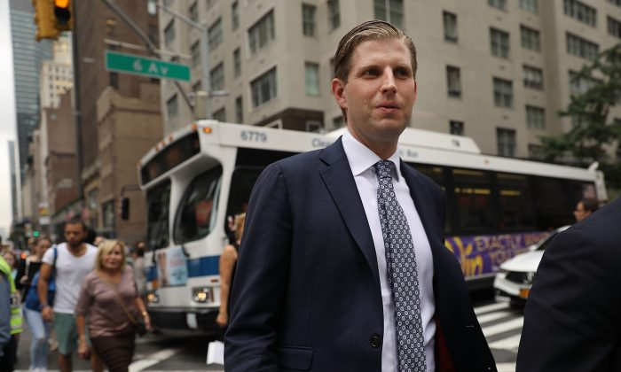 Eric Trump, son of President Donald Trump, walks outside of Trump Tower in New York City on Aug. 15, 2017. (Photo by Spencer Platt/Getty Images)