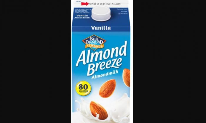 A carton of the recalled Vanilla Almond Breeze almond milk. The recall was due to fears of triggering dairy allergies. (Blue Diamond)