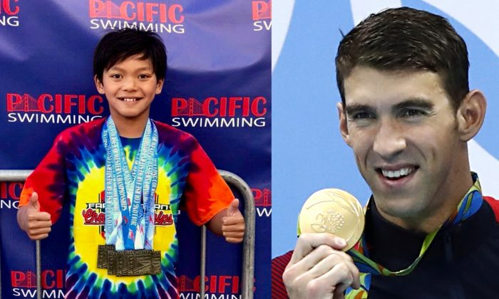 Clark Kent Apuada after his record-breaking win in Moragas, Calif., on July 29, 2018. (Dia Rianda Monterey  County Aquatic Team) Michael Phelps Michael Phelps at the Rio 2016 Olympic Games in Rio de Janeiro on Aug. 13, 2016. (Odd Andersen/AFP/Getty Images)