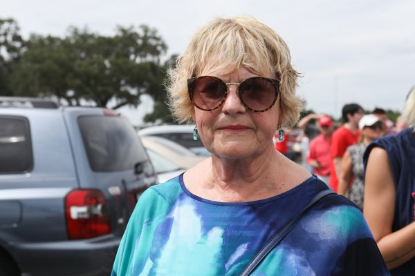 Dianne Wilhelm waits in line to attend President Donald Trump's Make America Great Again rally in Tampa, Fla., on July 31, 2018. (Charlotte Cuthbertson/The Epoch Times)