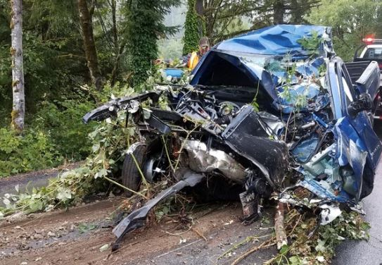 Carter Worden, 14, died in Oregon on August 3 after stealing his grandparents' truck and crashing it into a tree. (Oregon State Police)
