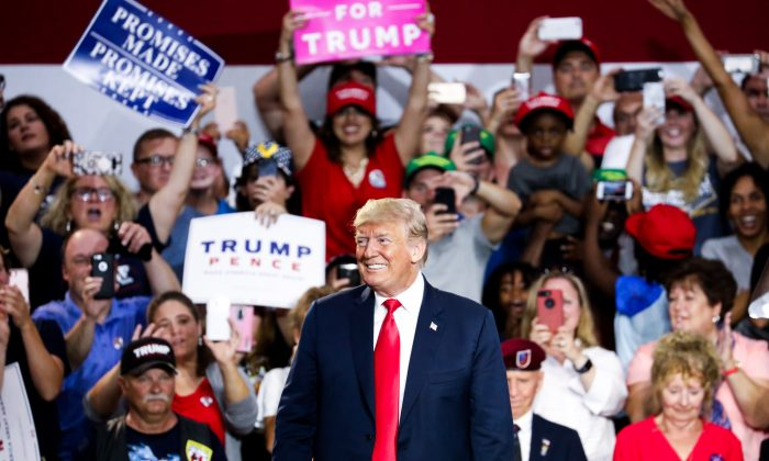 President Donald Trump speaks at a Make America Great Again rally in Lewis Center, Ohio, on Aug. 4, 2018. (Charlotte Cuthbertson/The Epoch Times)