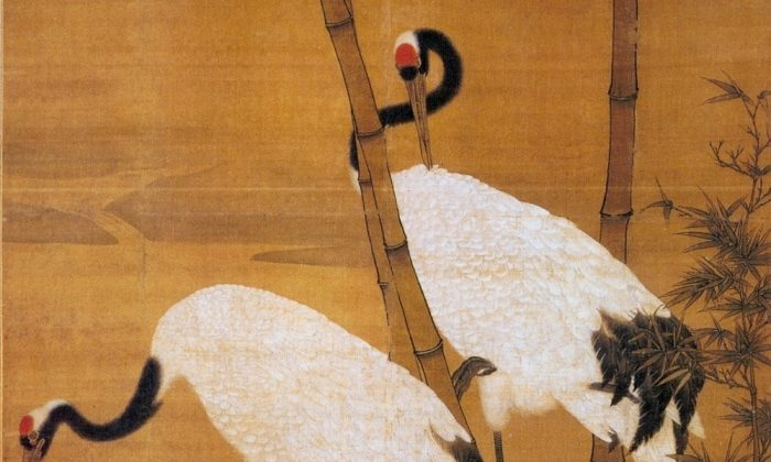 """Bamboo and Cranes,"" early Ming Dynasty, by Bian Jingzhao. Two immortal cranes flew Long Heng and his wife to Heaven. (Public Domain)"
