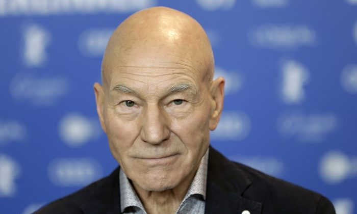In this Friday, Feb. 17, 2017 file photo, Actor Patrick Stewart attends a press conference for the film 'Logan' at the 2017 Berlinale Film Festival in Berlin, Germany. (AP Photo/Michael Sohn, File)