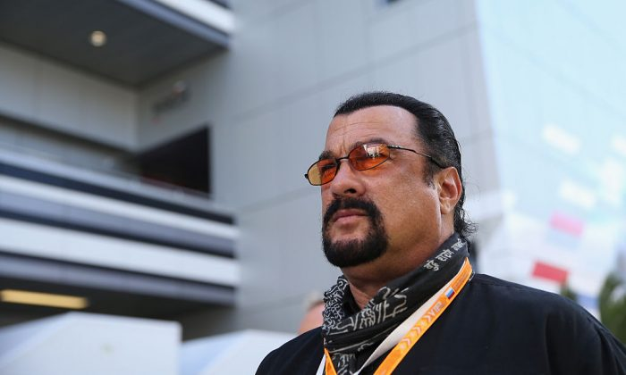 Actor Steven Seagal  attends a qualifying event ahead of the Russian Formula One Grand Prix at Sochi Autodrom on October 11, 2014 in Sochi, Russia.  (Clive Mason/Getty Images)