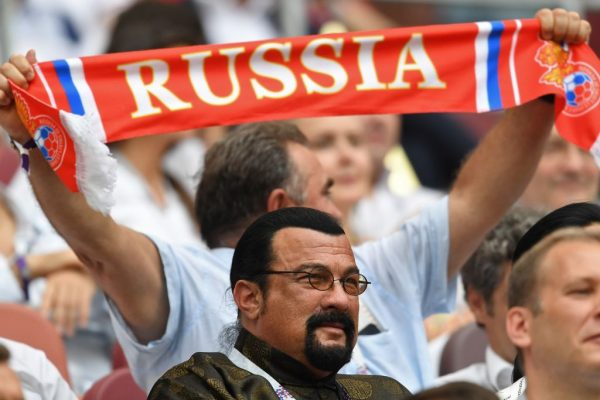 Seagal attends the Russia 2018 World Cup final football match between France and Croatia at the Luzhniki Stadium in Moscow on July 15, 2018. (KIRILL KUDRYAVTSEV/AFP/Getty Images)