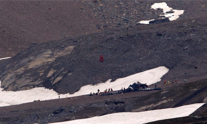 A general view of the accident site of a Junkers Ju-52 airplane of the local airline JU-AIR, in 2,450 meters (8,038 feet) above sea level near the mountain resort of Flims, Switzerland August 5, 2018.  (REUTERS/Arnd Wiegmann)