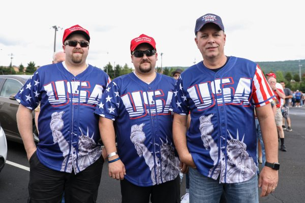 Retired NYPD detective Michael Sierra (R) with Chris (L) and Robert Kinsley before a Make America Great Again rally in Wilkes-Barre, Pa., on Aug. 2, 2018. (Samira Bouaou/The Epoch Times)