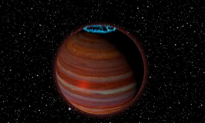 Artist's conception of SIMP J01365663+0933473, which 12.7 times Jupiter's mass but has  a magnetic field 200 times as strong. (Caltech/Chuck Carter-NRAO/AUI/NSF)