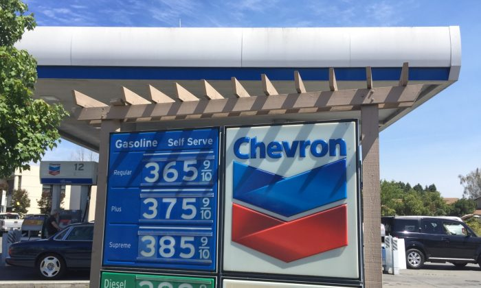 Gas prices listed at a Chevron gas station in Cotati, California on Aug. 5, 2018 (Matthew Kang/The Epoch Times)
