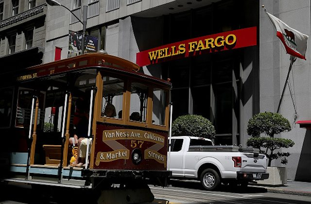 SAN FRANCISCO, CA - JULY 14:  A Cable Car passes a Wells Fargo Bank branch office on July 14, 2017 in San Francisco, California. San Francisco based Wells Fargo & Co. reported better-than-expected second quarter earnings with profits up 5 percent to $5.8 billion, or $1.07 per share. (Photo by Justin Sullivan/Getty Images)
