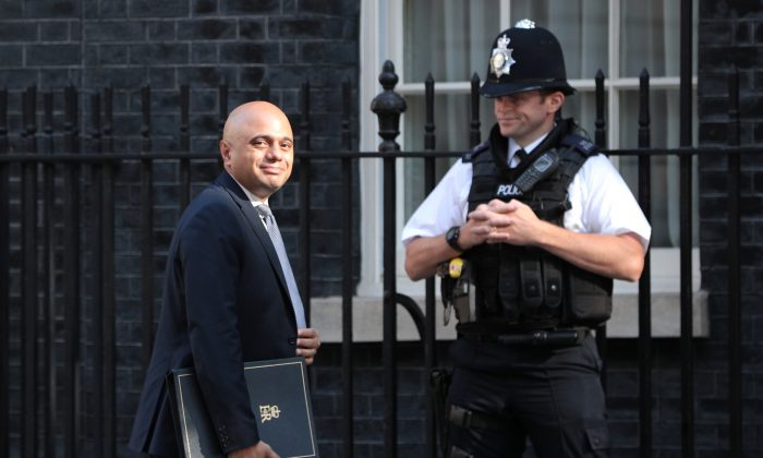 """Home Secretary Sajid Javid at Downing Street on July 17, 2018 in London, England. A leaked letter from police commissioners to Javid on Aug. 7 warned of the risks to security of """"crashing out"""" of the EU with no deal. (Dan Kitwood/Getty Images)"""