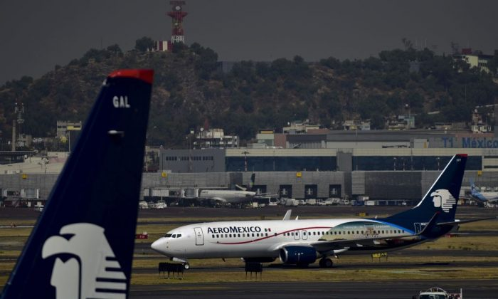 An Aeromexico plane sits on the tarmac at Mexico City's international airport on Nov. 28, 2017.