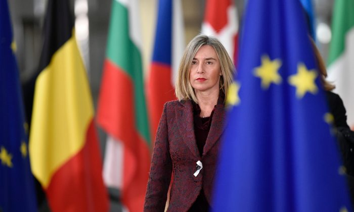 The EU's high representative for foreign affairs and security policy Federica Mogherini arrives on the first day of a summit of EU leaders at the EU headquarters in Brussels, on March 22, 2018. (John Thys/AFP/Getty Images)