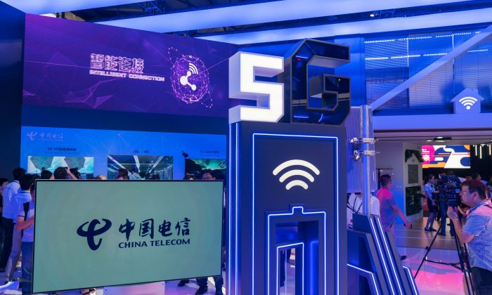 A China Telecom stand displaying 5G technology during the Mobile World Conference in Shanghai on June 27, 2018. (AFP/Getty Images)