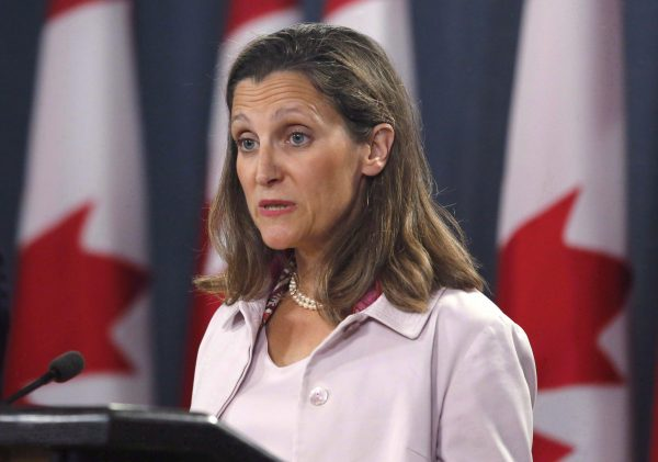Canada's Foreign Affairs Minister Chrystia Freeland