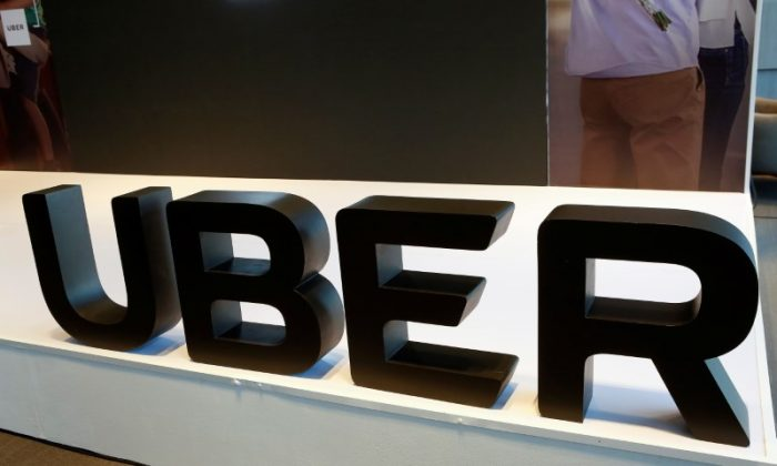 The logo of Uber is pictured during the presentation of their new security measures in Mexico City, Mexico April 10, 2018. REUTERS/Ginnette Riquelme