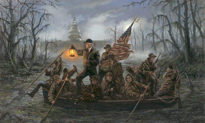 """""""Crossing the Swamp"""" by Jon McNaughton.  (JonMcNaughton.com)"""
